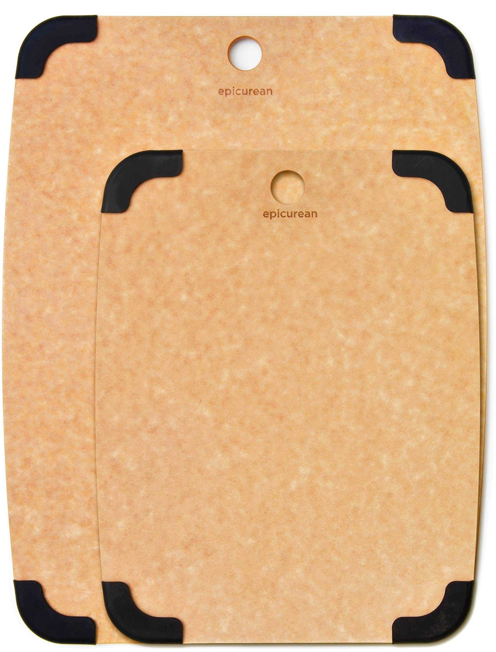 Epicurean Cutting Board Set, Two Non Slip Boards 15'' X 10'' and 11.5'' X 9'' (Natural/Slate), Natural Wood Fiber Composite, Reversible, Thin, Non-Porous Dishwasher Safe, NSF Approved - Made in USA