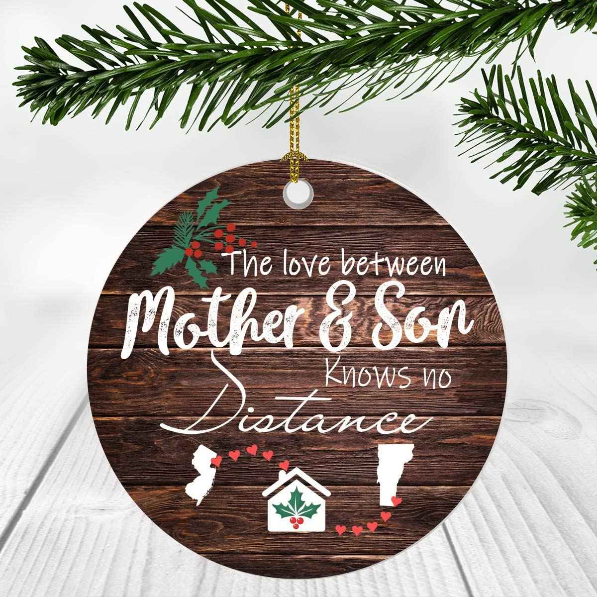 Amazon Com Merry Christmas Ornament Two State Map New Jersey Vermont The Love Between Mother And Son Knows No Distance Christmas Ideas Gift Long Distance Mom And Son Ornament 3 Plastic