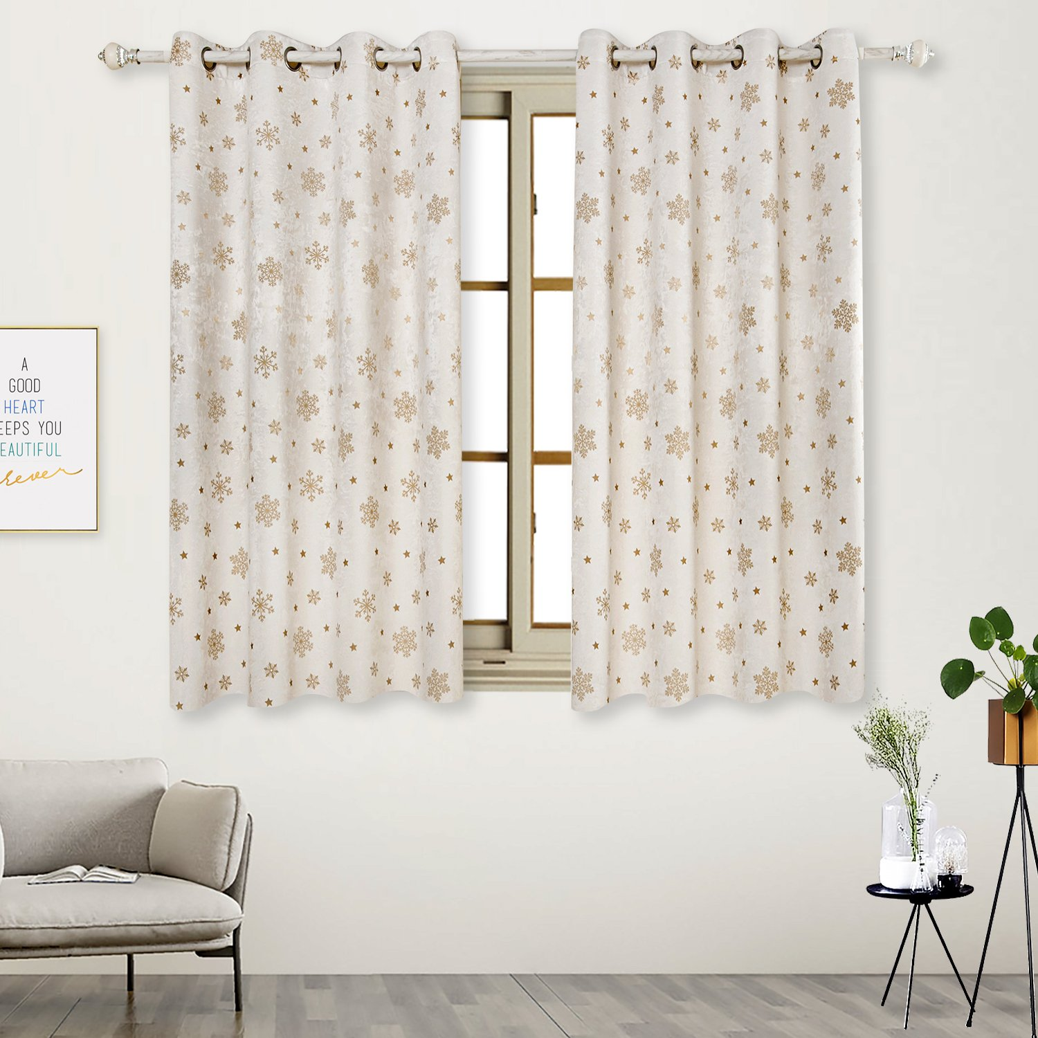 2 Panels, Decor Curtains Geometric Square Printed Room Darkening Metal Grommets Window Cloth(Beige,42 Wx63 L) 42 Wx63 L) BGment