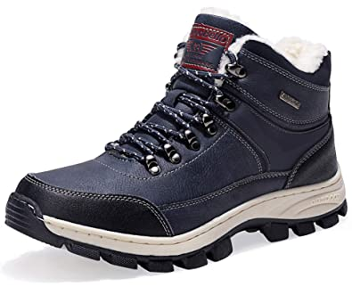 bd823a44dae2c2 AX BOXING Snow Boots Mens Womens Winter Warm Ankle Boots Fully Fur Lined  Anti-Slip Leather Waterproof Boots Work Shoes Size 4-12.5 Holes  Walking