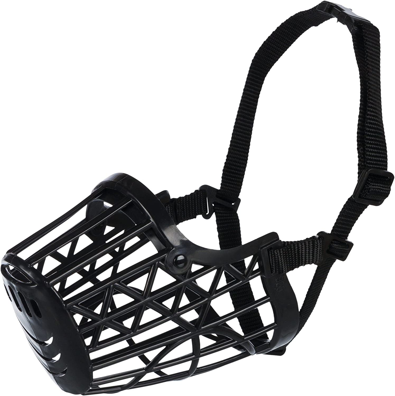 TRIXIE Bozal plástico, Cintas ajuste Nylon, L, 26 cm, Negro, Perro