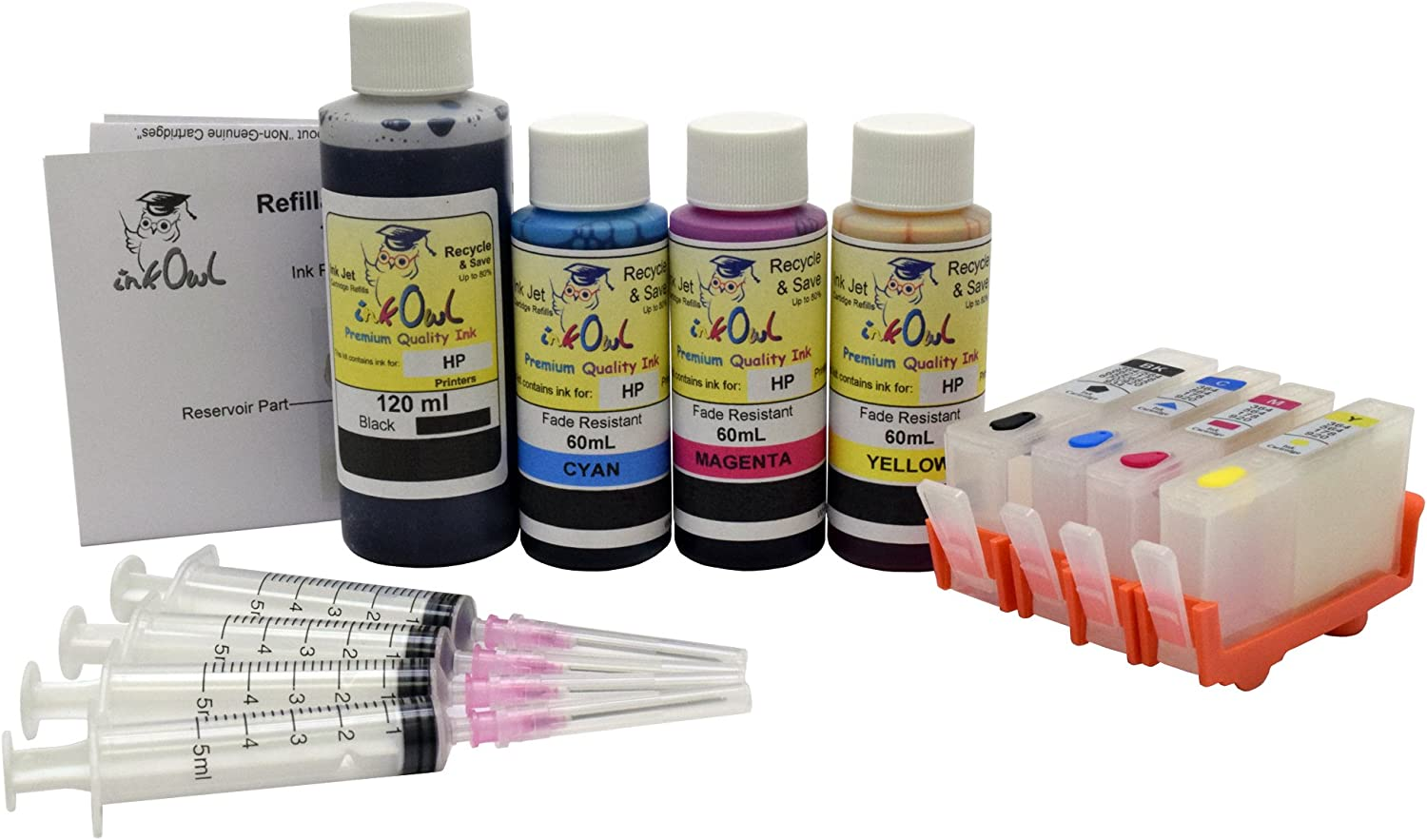InkOwl Refillable Cartridge Set for HP 564, 564XL (4 Color) + 120mL Black, 60mL Cyan, Magenta, Yellow USA-Made Fade Resistant Ink