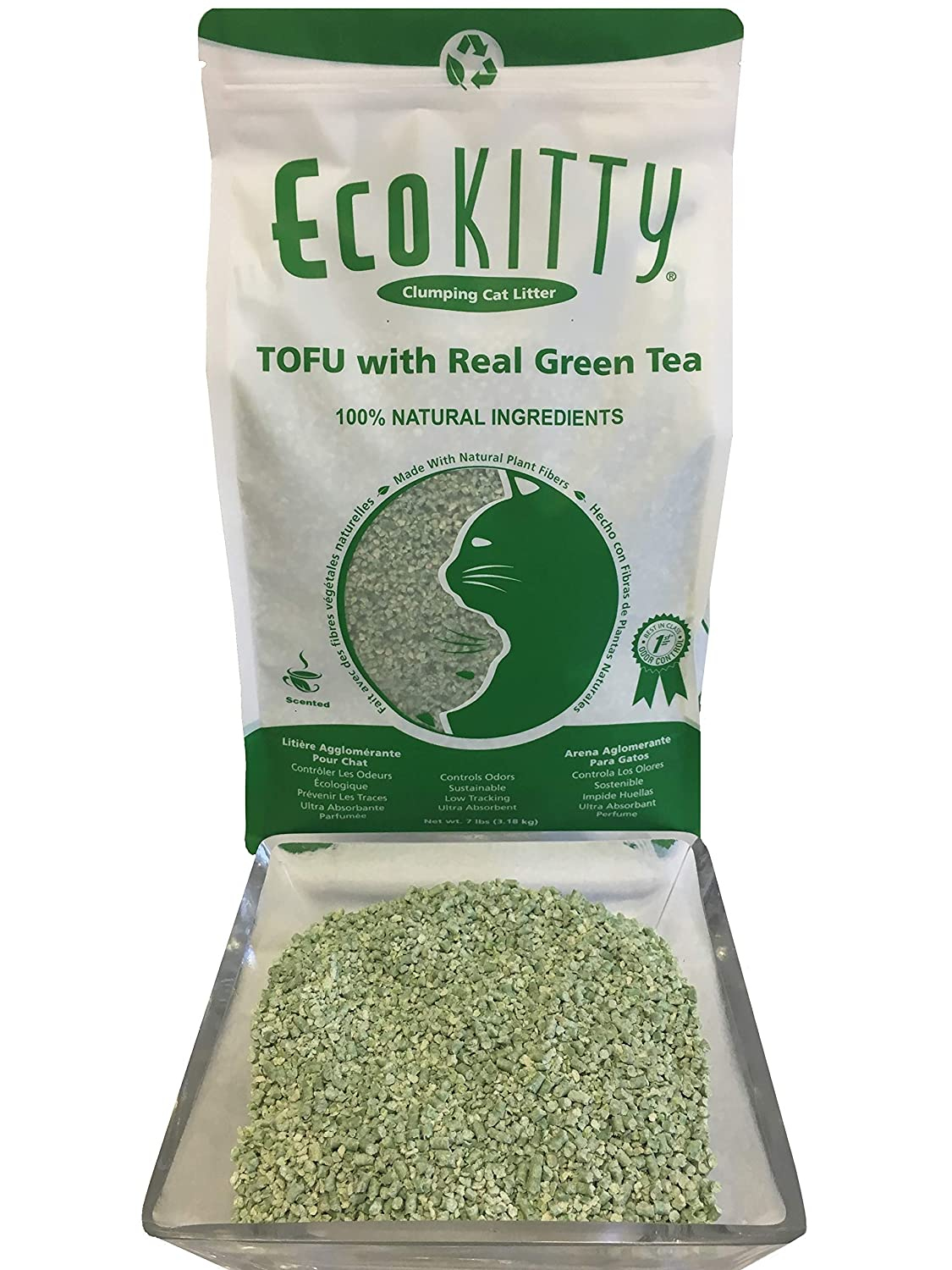 Amazon.com : EcoKitty Tofu Litter with Real Green Tea, 7 lb : Pet Supplies