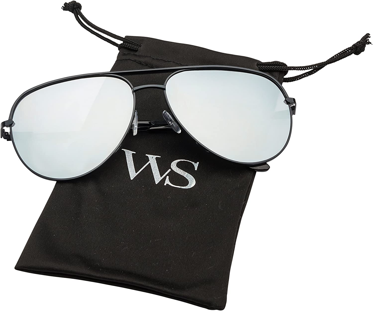 WealthyShades- Aviator sunglasses Mirrored flat lens | Oversized, Polarized For Women and Men UV400
