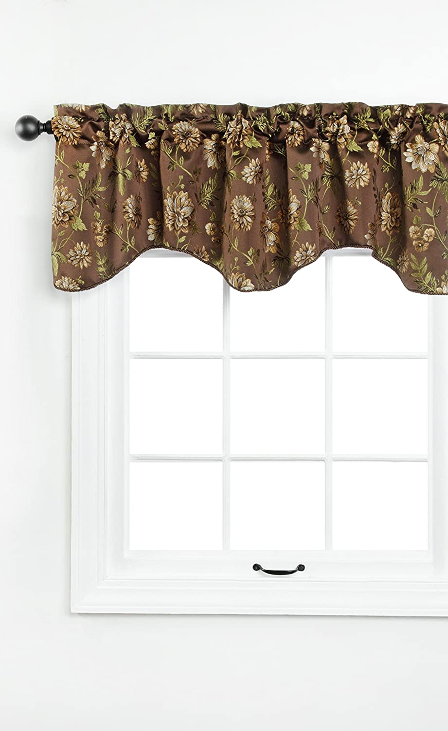 Renaissance Home Fashion Dahlia Lined Scalloped Valance with Cording, 55 by 17
