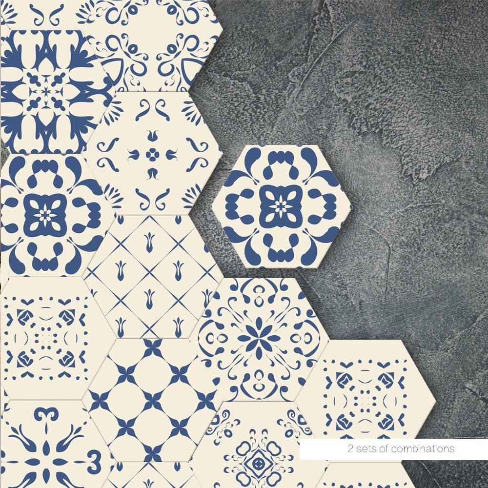 Takefuns Lot de 10 stickers hexagonaux en vinyle pour carrelage de cuisine /étanches talavera traditionnels faciles /à appliquer salle de bain il suffit de d/écoller et de coller