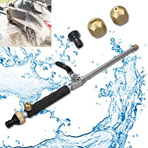 Hydro Jet High Pressure Power Washer Wand Portable Power Water Gun, Heavy Duty Metal Watering Sprayer with Universal Two Hose Nozzle End for Outdoor Washings Garden and Car Washing