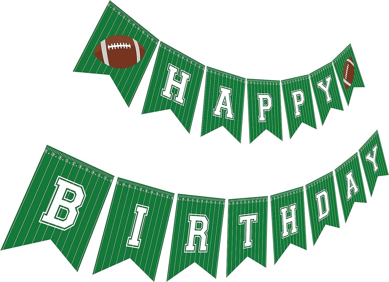 Silvima Football Birthday Banner | Football Theme Happy Bday Bunting Sign, Football Party Decoration
