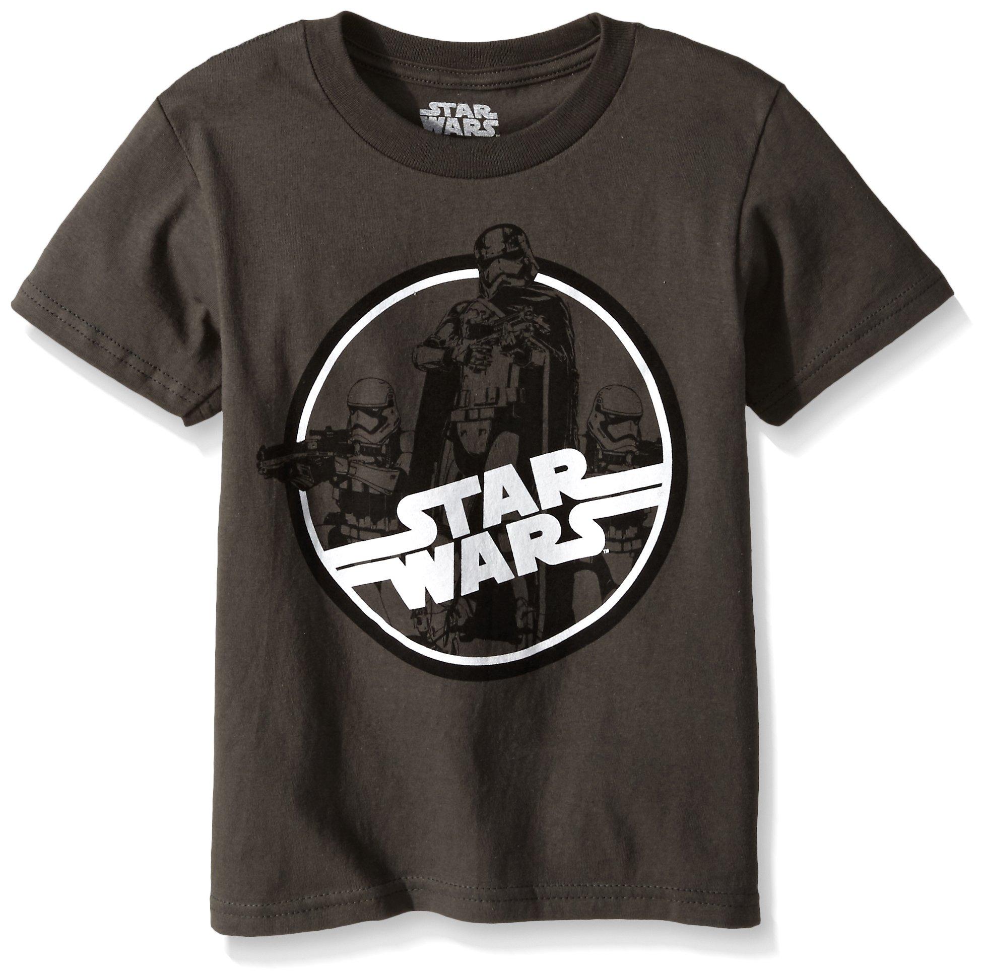 Star Wars Little Boys' T-Shirt, Logo Charcoal, 4