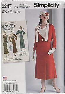Simplicity H5 8247 – Patrones de Costura para 1930 del Patrón De Costura para Vestido