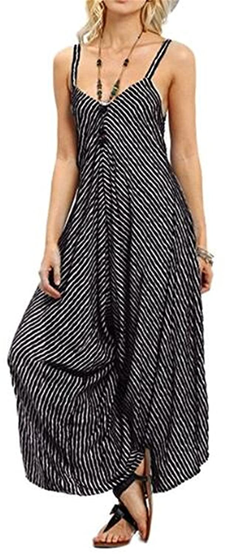 NANYUAYA Women's Stripe V-Neck Spaghetti Strap Wide Leg Pants Jumpsuit Rompers