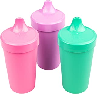product image for Re-Play Made in The USA 3pk No Spill Sippy Cups for Baby, Toddler, and Child Feeding - Bright Pink, Purple, Aqua (Sparkle)