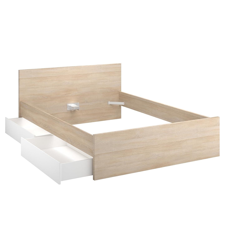 INFINIKIT Haven Bett, 160 x 200 cm, mit Schubladen, goldene Eiche ...