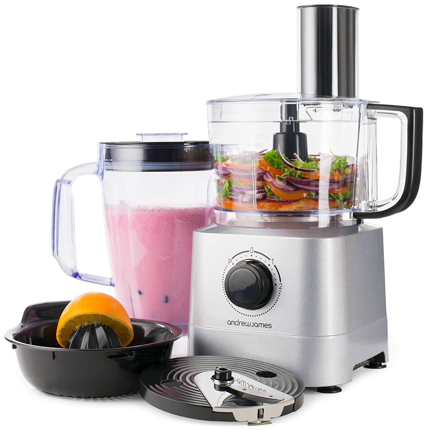 Uncategorized Andrew James Kitchen Appliances andrew james food processor in silver 700 watts 7 attachments 1 4l bowl 8l blender jug amazon co uk kitchen hom