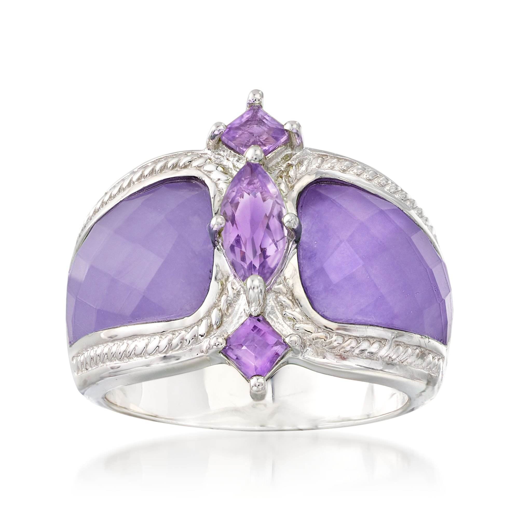Ross-Simons Lavender Jade and .70 ct. t.w. Amethyst Ring in Sterling Silver