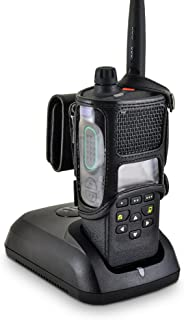 """product image for Turtleback Carry Holder for APX 4000 Extended Battery Radio Single KNOB Fire and Police Two Way Radio Belt Clip Holster Case Black Leather, Heavy Duty Rotating Ratcheting 2.25"""" Belt Loop Made in USA"""