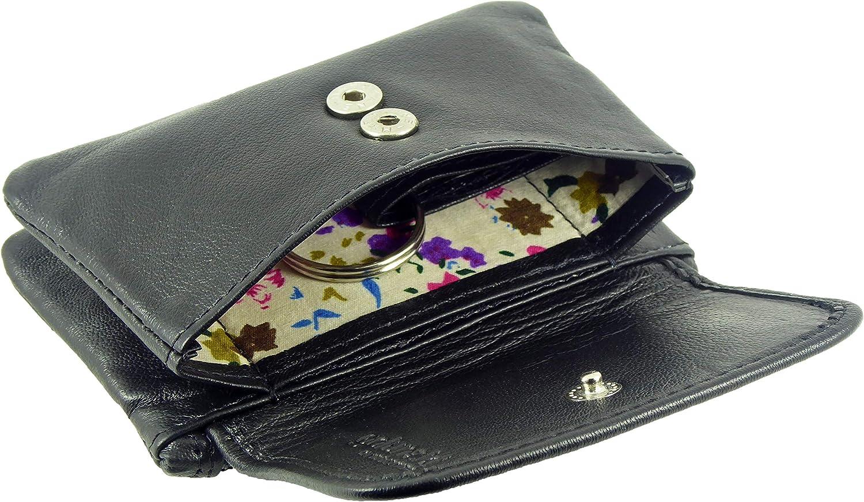 pochette avec rabat avant en 6/couleurs Petit porte-cartes souple avec fermeture /éclair pour pi/èces de monnaie