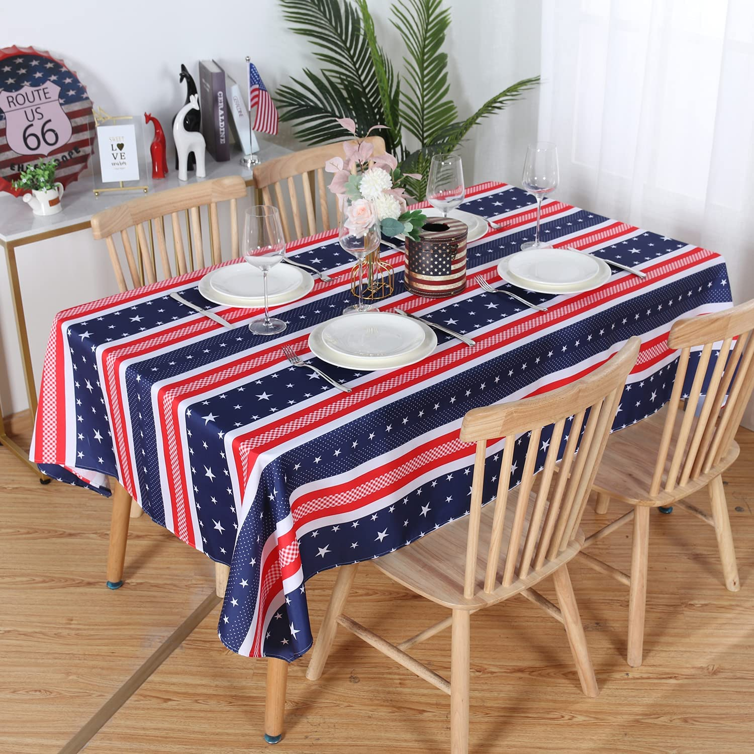 LUSHVIDA American Striped Rectangle Table Cloth, Polyester Stars Patriotic Plaid Tablecloth, Table Cover Protector for July 4th Independence Day Party Supply Decor, 60 x 84 Inch