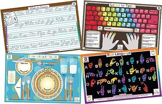 Educational Kids manteles individuales conjunto de 4: Aprender a ...