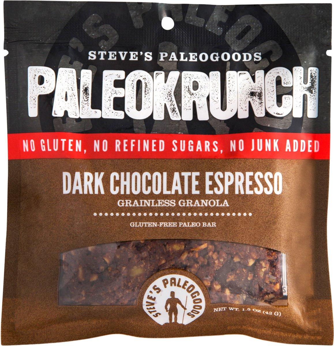 Steve's Paleogoods, PaleoKrunch Bar Dark Chocolate Espresso, 1.5 oz (Pack of 3)