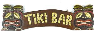 Hand Carved Tiki BAR Sign with Two Masks 3D Polynesian Hawaiian Art