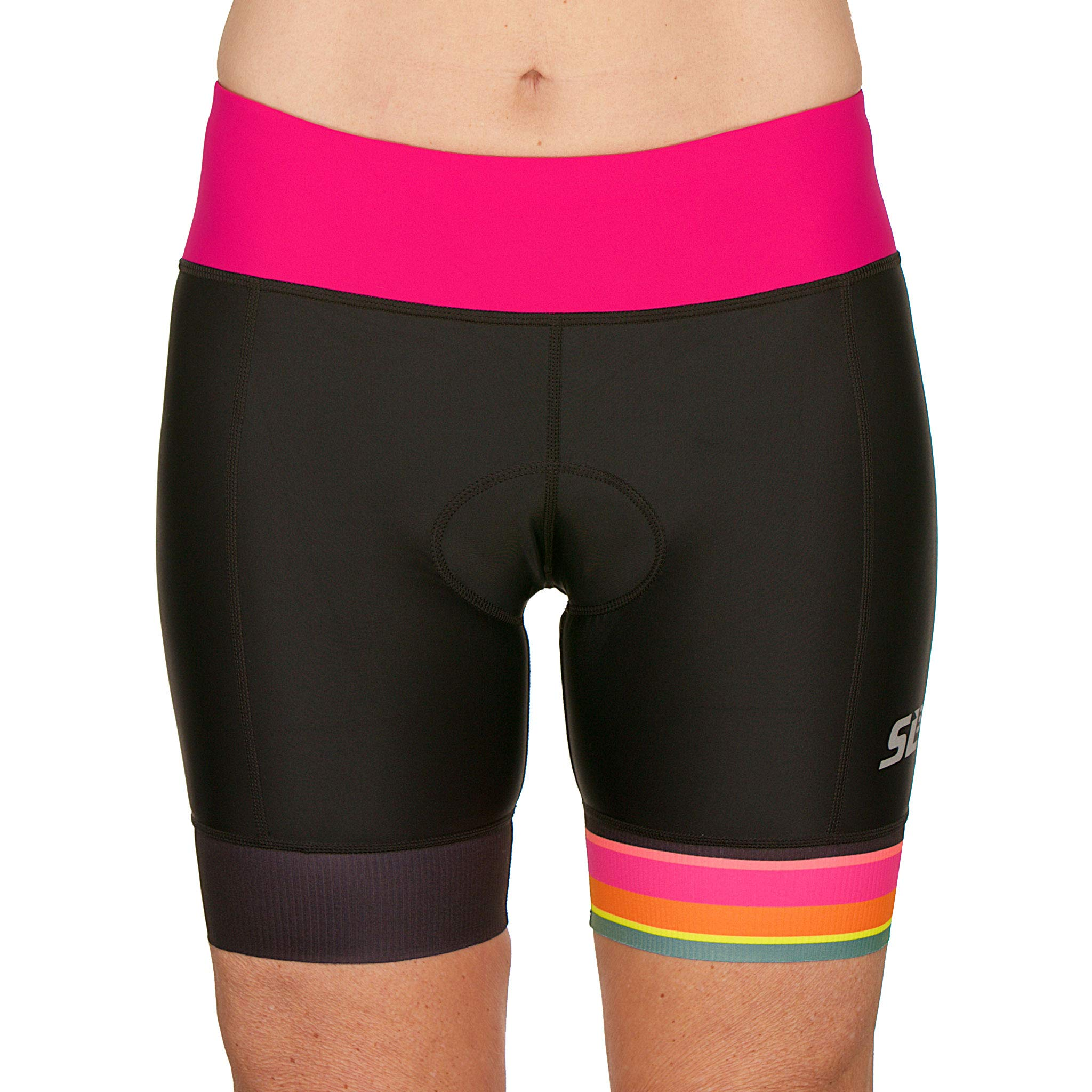 SLS3 Womens Triathlon Shorts FRT | 6 inch Black Women Tri Short | Super Comfy Tri-Shorts with Soft Chamois | German Designed (Black/Bright Rose, Small)