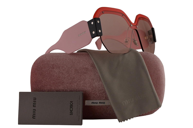Amazon.com: MIU MIU mu09ss anteojos de sol rojo w/rosa claro ...