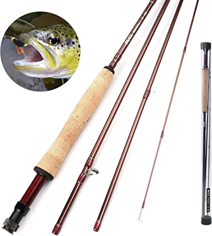 Amazon Com Runcl Fly Fishing Rod Seagull I Fly Fishing Pole 4 Piece Fuji A Guides Solid Wood Reel Seat High Grade Cork Grip Stainless Steel Hook Holder Medium Fast 9 3