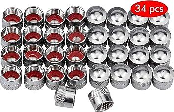 Hentek 34 Stück Metall Ventilkappen Autoventil Metall Kappen Ventilkappe Radventilkappen Für Pkw Auto Auto