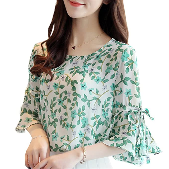 5e4145ef498 OUXIANGJU Women New Floral Printed Chiffon Shirts Open Shoulder Blouses  Plus Size Tops at Amazon Women s Clothing store