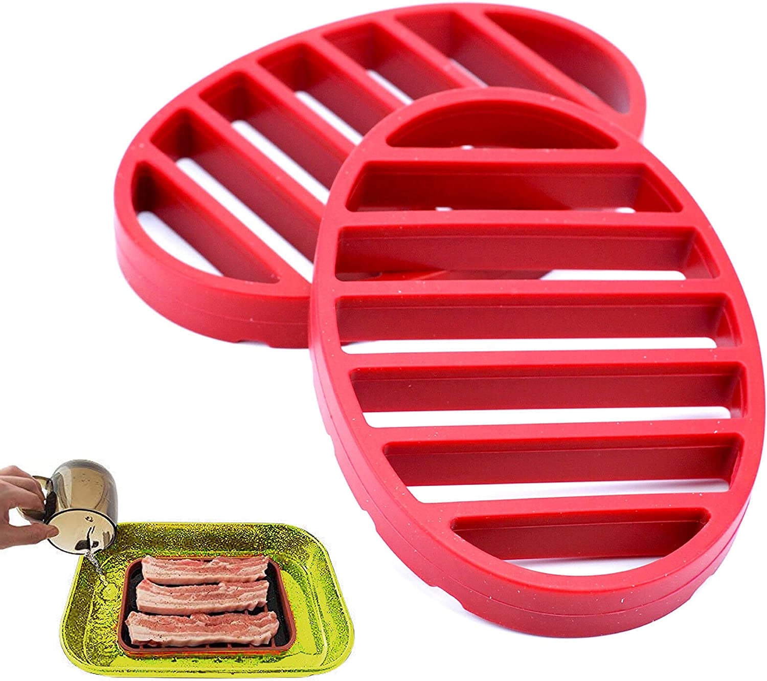 Professional Oval Silicone Roast Rack made of Food-Grade Silicone Roasting Rack, Nonstick Silicone Rack for Health food cooking, Pressure Cooker, Meat Roasting Rack Set of 2 pack