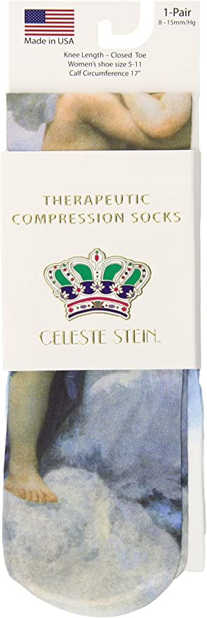1-Pair Celeste Stein Therapeutic Compression Socks BW Lace 8-15 mmhg