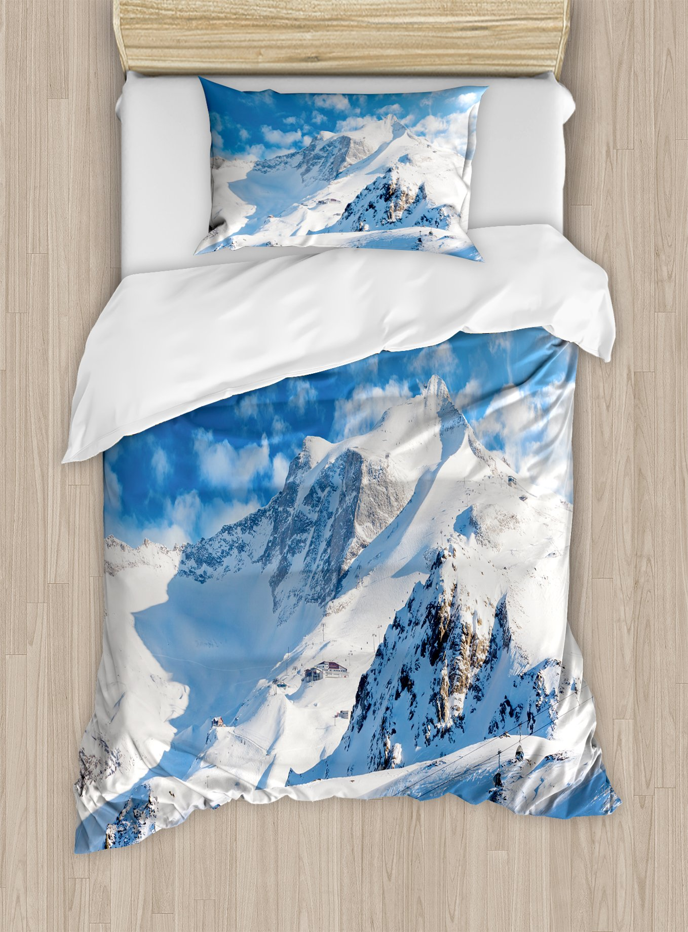 Ambesonne Mountain Duvet Cover Set Twin Size, Mountain Landscape Ski Slope Winter Seasonal Sport Telfer and Snowboarding Image, Decorative 2 Piece Bedding Set with 1 Pillow Sham, White Blue