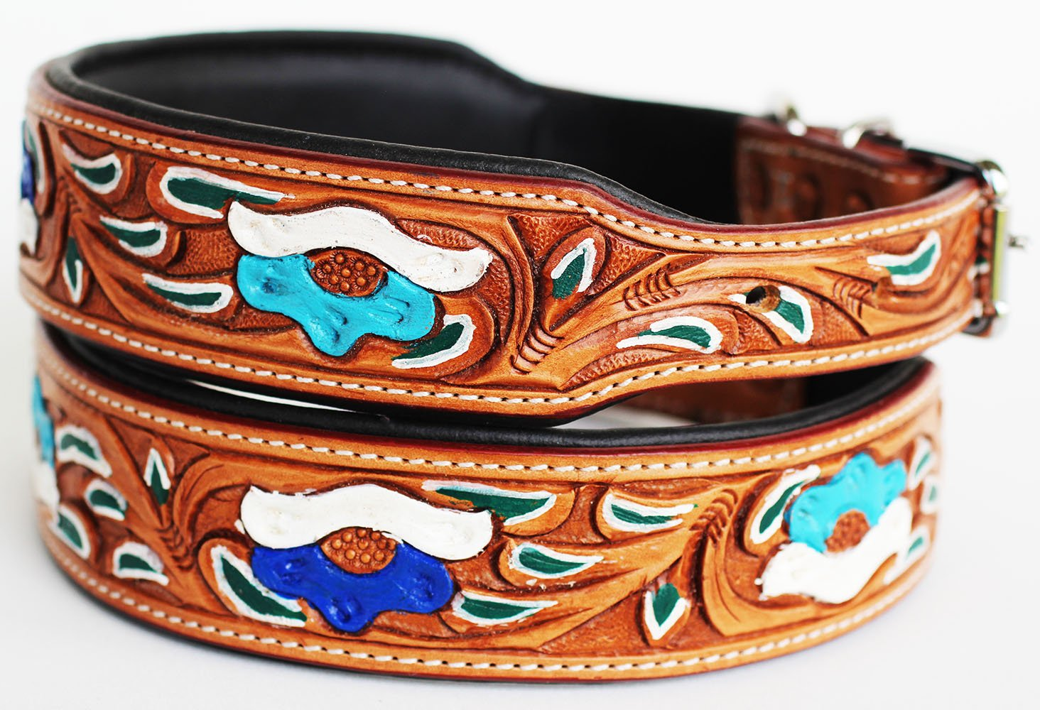 Large 21''- 25'' Dog Puppy Collar Genuine Cow Leather Padded Canine 60100