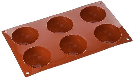 SF002 Molde de Silicona, 6 cavidades con Forma de Semi esferas, Color Terracota