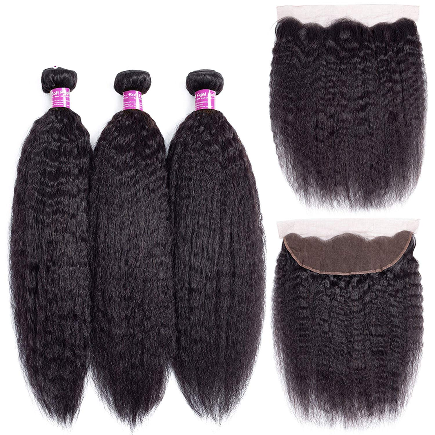 SHILINWEI Brazilian Kinky Straight Hair With Frontal Human Hair Bundles With Frontal Remy Lace Frontal Closure With Bundles,24 26 28 & Closure20,Natural Color,Three Part
