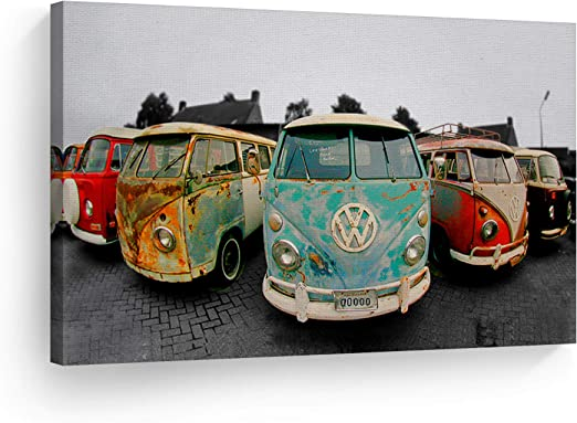VW Camper Van Stretched Canvas Wall Art Poster Print Surfing Volkswagen Beetle