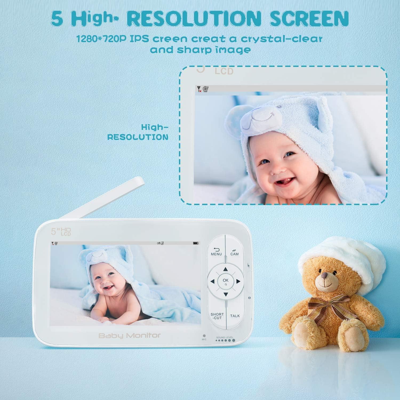 rango de 900 pies audio bidireccional zoom con un clic 720P 5HD Display Video Baby Monitor con c/ámara y audio Baby Monitor visi/ón nocturna y monitor t/érmico pantalla IPS