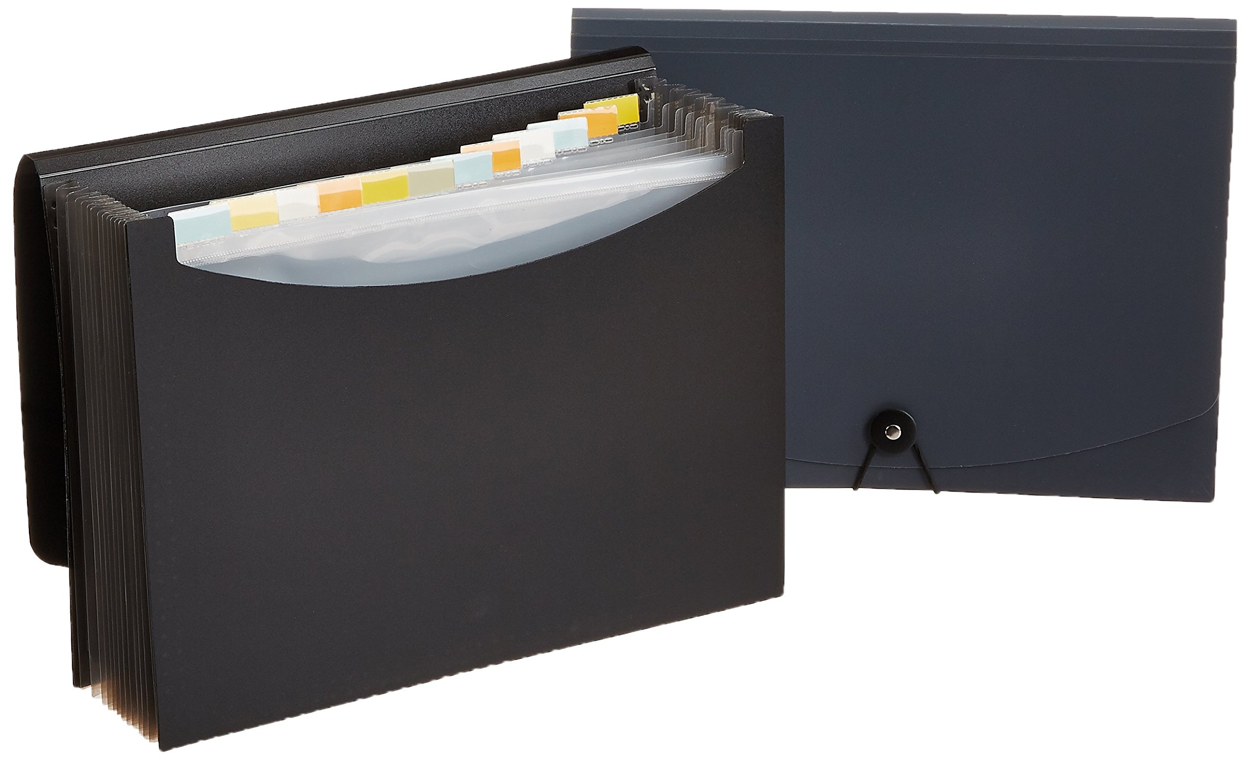 AmazonBasics Expanding File Folder, Letter Size (Fits A4 Paper) - Black/Gray (2-Pack) - with 13 pockets product image
