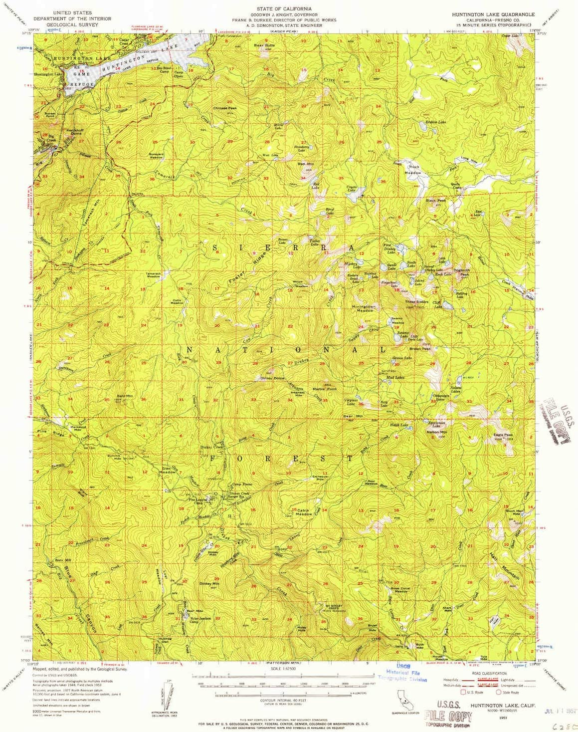Amazon Com Yellowmaps Huntington Lake Ca Topo Map 1 62500 Scale 15 X 15 Minute Historical 1953 Updated 1957 20 9 X 16 6 In Paper Sports Outdoors