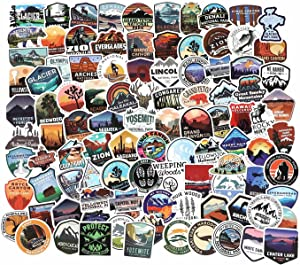 National Park Sticker Pack Set 100 pcs, Outdoor Nature Adventure Hiking Camping Wilderness Stickers, Travel Stickers Decals for Water Bottle Laptop Car Bumper Luggage (National Park Stickers 100 pcs)