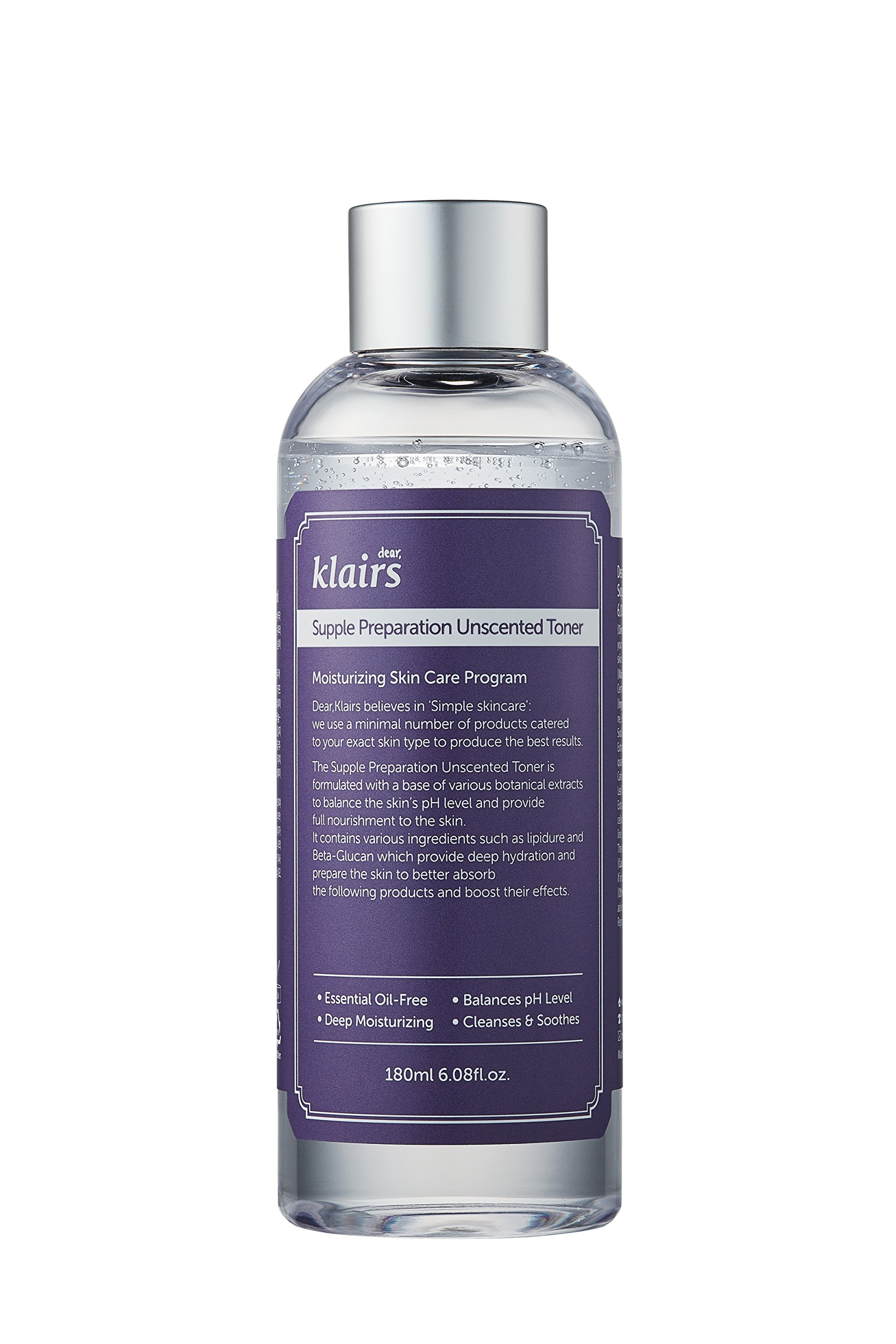 [KLAIRS] Supple Preparation Unscented Toner 180ml lightweight, essential oil-free, alcohol free