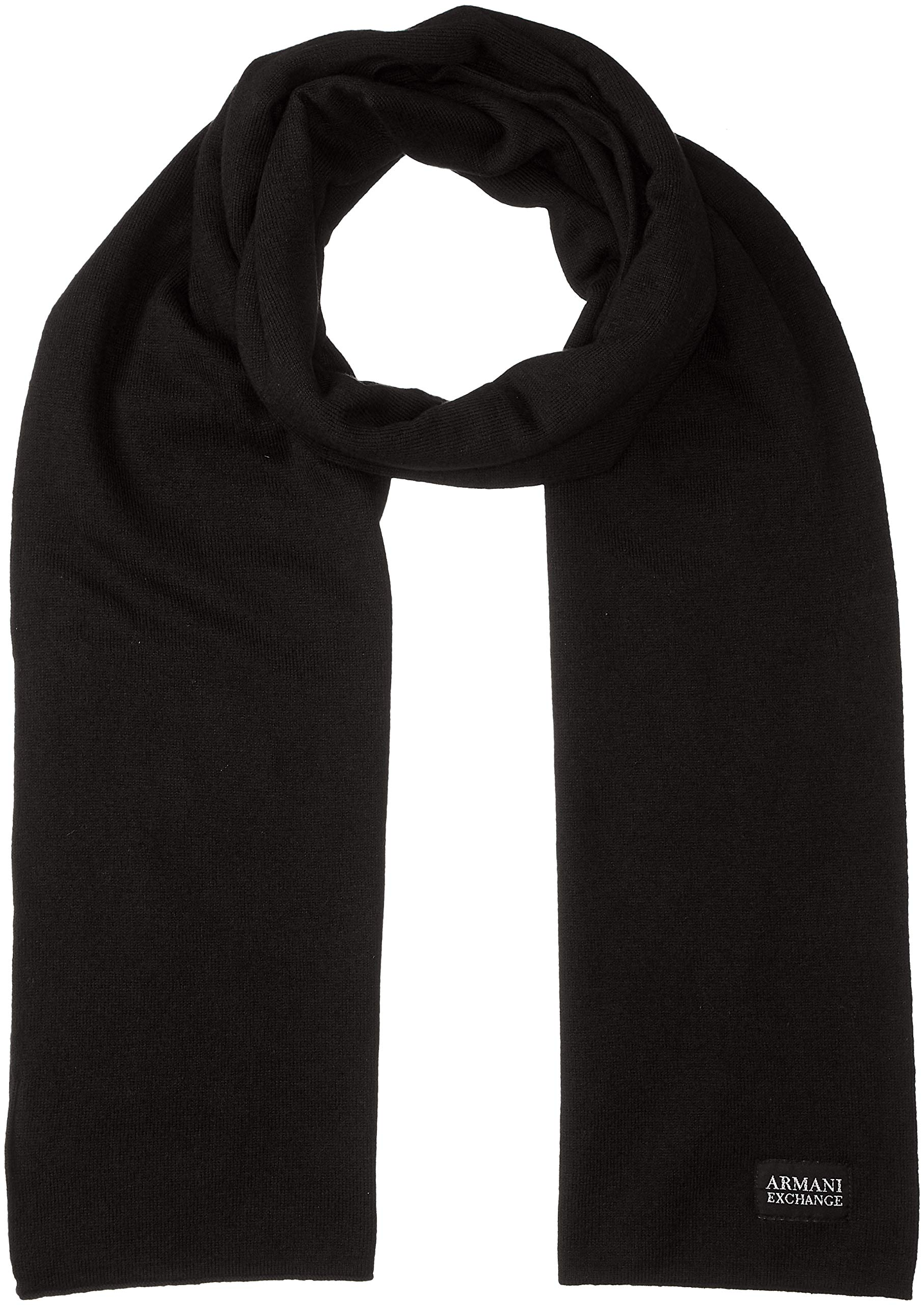 Armani Exchange Men's AX Cashmere Scarf, Black, ONE Size