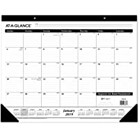 "AT-A-GLANCE 2019 Desk Calendar, Desk Pad, 21-3/4"" x 17"", Standard, Ruled Blocks (SK2400)"