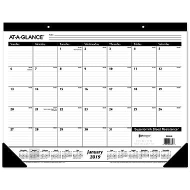AT-A-GLANCE 2019 Desk Calendar, Desk Pad, 21-3/4  x 17 , Standard, Ruled Blocks (SK2400)
