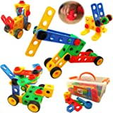 Skoolzy STEM Toys for Boys and Girls - Nuts & Bolts Engineering Toys for Toddlers - Building Blocks Construction Set for age 5, 4, 3, 2 | 87 Pc Toddler Educational Toys Box Activities Guide