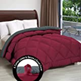 "Cloth Fusion Pacifier 2nd Generation 200GSM Microfiber Reversible AC Comforter for Double Bed - (90""x100"") Inches, Grey & Maroon"