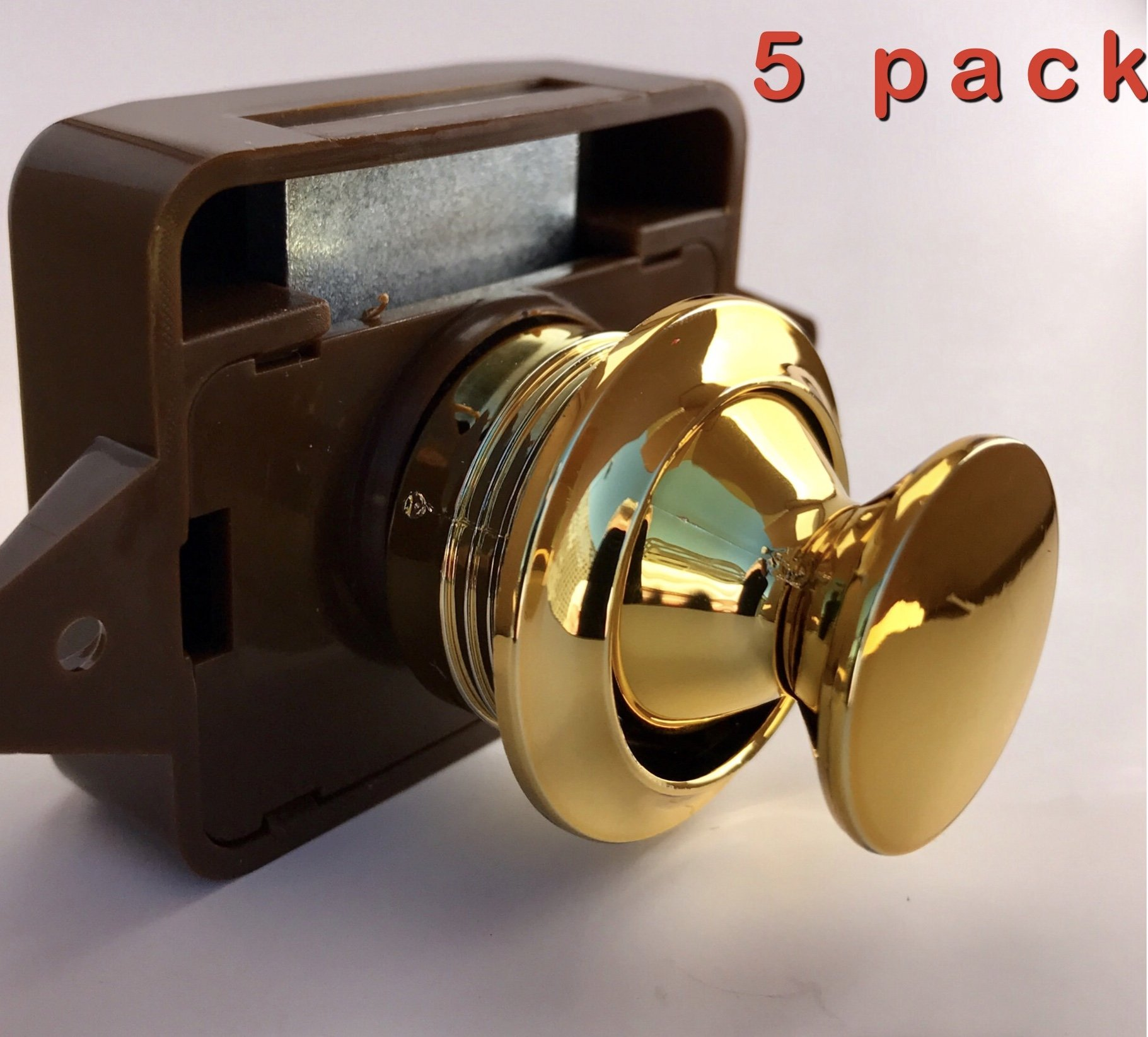 AMT Package of Five Cabinet Lock Keyless Push Button Cabinet Latch for Rv/Motor Home, Cupboard, cabinets and Doors (Gold)