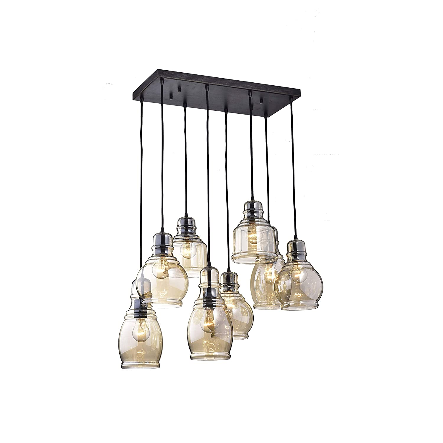 Jojospring Mariana 8 Light Cognac Glass Cluster Pendant In Antique Ceiling Wiring On Diagram Group Picture Image By Black Finish