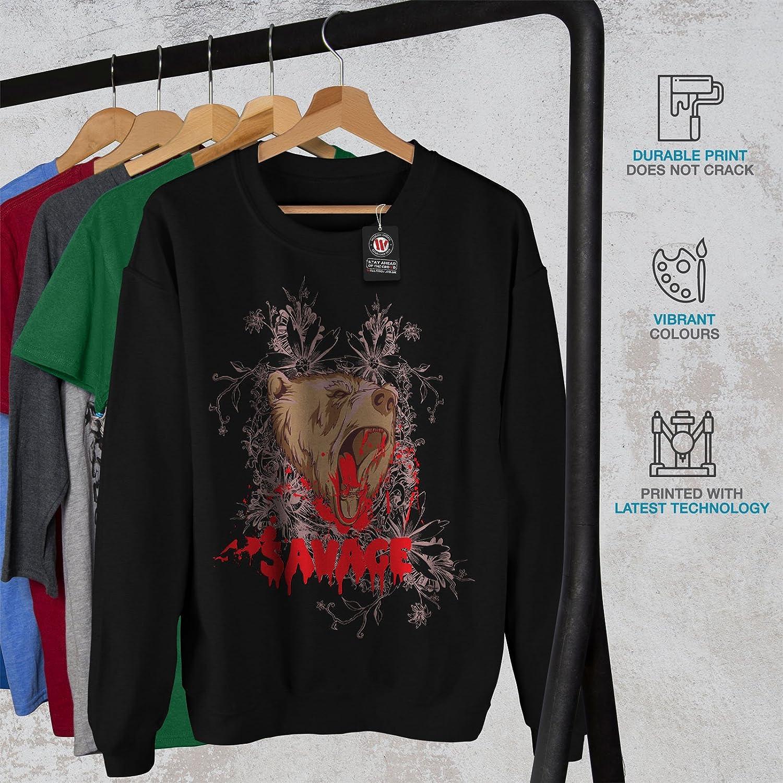 Brown Casual Jumper wellcoda Savage Beast Bear Mens Sweatshirt